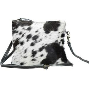 Myra White and Black Shade Bag - cowhide